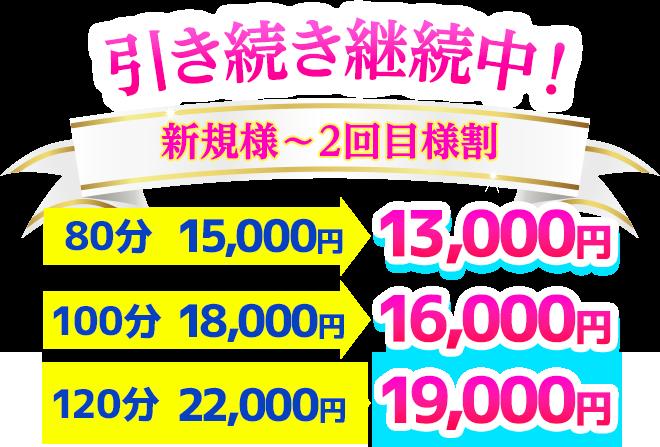 引き続き継続中 新規様〜2回目様割 80分13,000円 100分16,000円 120分18,000円